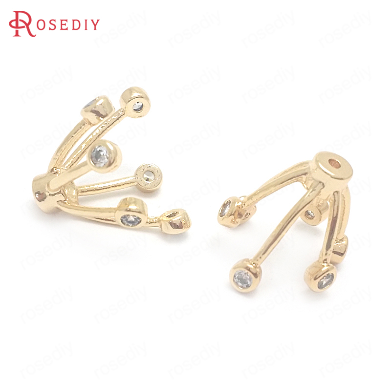 (37678)6PCS Diameter 13MM 24K Gold Color Brass And Zircon Flower Beads Caps Jewelry Making Supplies Diy Findings Accessories