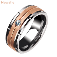 Newshe Men's Charm Wedding Band 8mm Tungsten Carbide Promise Rings For Men Brown Color White Zircon Jewelry TRX051 Size 9 12