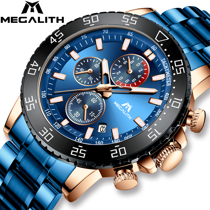 MEGALITH Blue Mens Watches With Stainless Steel Top Brand Luxury Men  Sports Chronograph Quartz Watches Clock Relogio Masculino