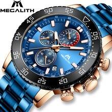 Megalith Blue Heren Horloges Met Rvs Top Brand Luxe Mannen Sport Chronograaf Quartz Horloges Klok Relogio Masculino