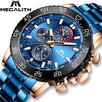 Megalith azul dos homens relógios com aço inoxidável topo marca de luxo esporte cronógrafo relógios quartzo relógio relogio masculino|Relógios de quartzo| |  -