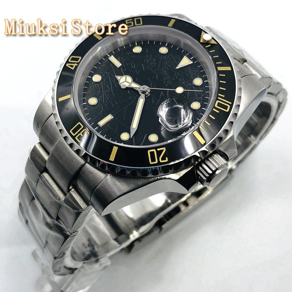 Bliger 40mm mens top watch silver case sapphire glass date window ceramic bezel stainless steel waterproof mens automatic watch