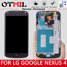 цена на OTMIL 100% Guarantee For LG Google Nexus 4 Optimus LCD For LG E960 LCD Display Digitizer Touch Screen with Frame Replacement $