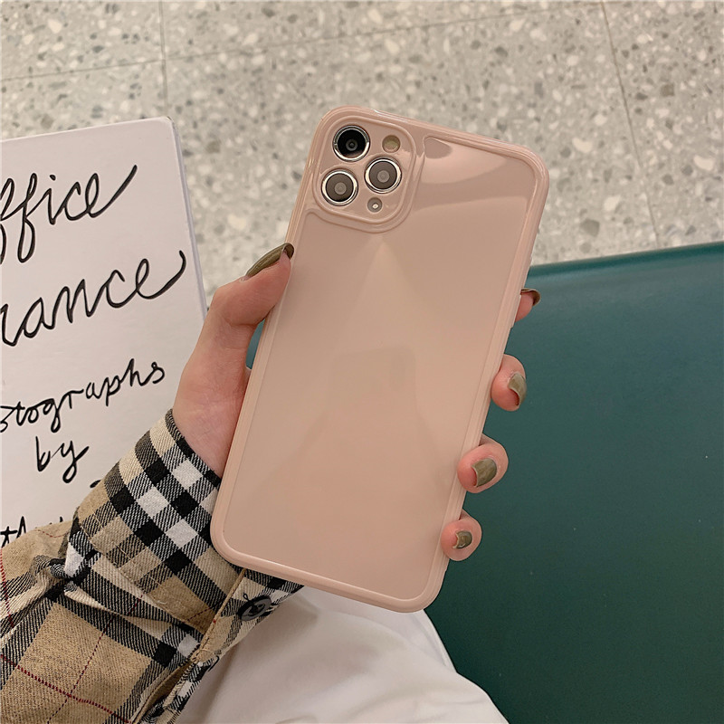 Luxury Vintage Fashion Square Solid Candy Color Ultra-thin Liquid Silicone Phone Case for iPhone 12 Pro Max  5