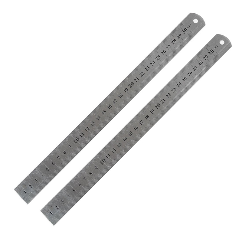 2 Pcs Metric 30cm Stainless Steel Straight Ruler Measuring Tool 12