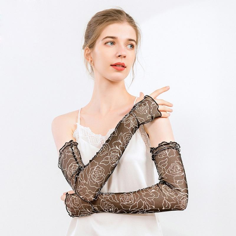 Women Summer 100% Natural Mulberry Silk Long Sleeve Touch Screen Mesh Knit Sunscreen Driving Sun Glove Fingerless Mitten I83