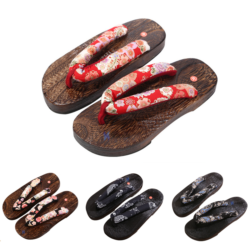 Women Men Couples Sandals Japanese Traditional Sakura Geta Clogs Kimono Rount Toe Wooden Shoes Anime Cosplay Outdoor Flip Flops