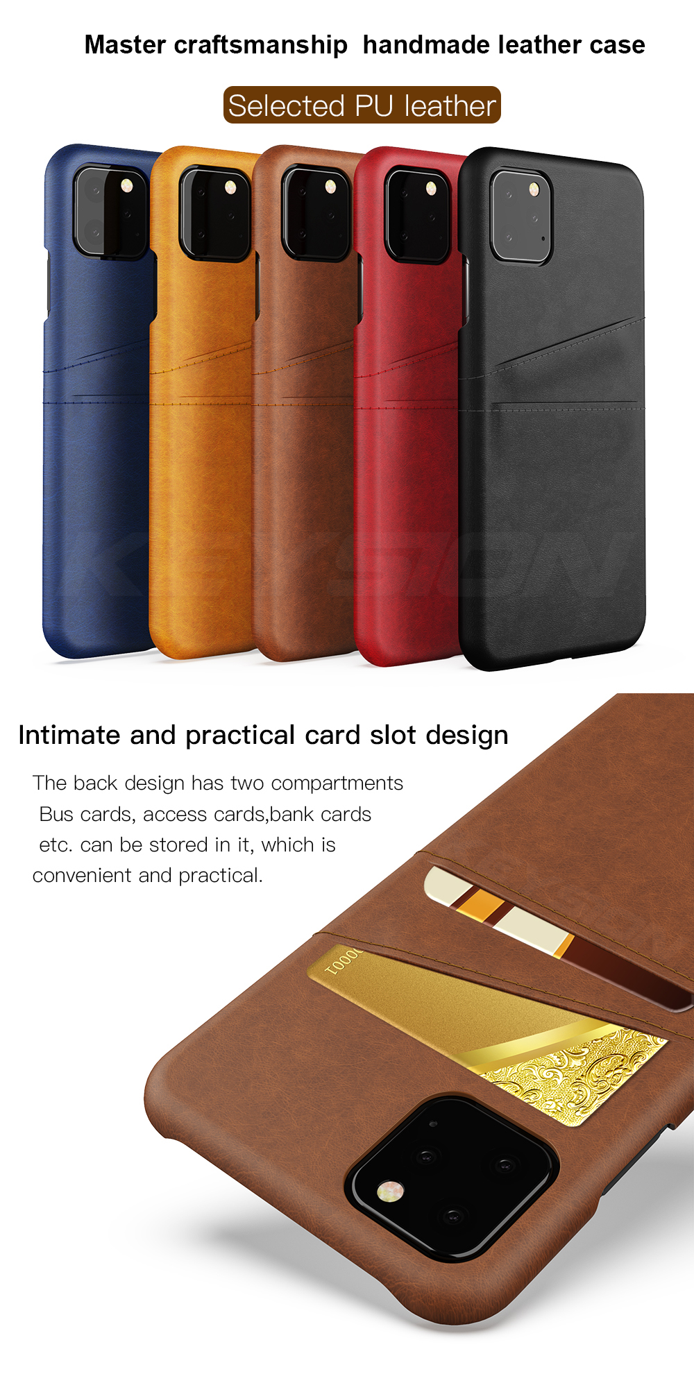KEYSION Leather Card Pocket Cases for iPhone 11/11 Pro/11 Pro Max 1