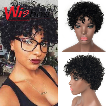 Wigbow Afro Kinky Curly Human Hair Wigs For Women Short Brazilian Ombre Jerry Curly Wig F1B 30 Curly Wig Human Hair Free Shiping short shaggy neat bang layered curly siv human hair wig