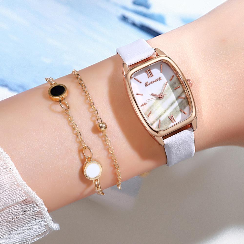 Роскошные женские часы браслет набор простые женские часы повседневные кожаные кварцевые наручные часы девушка часы relogio feminino