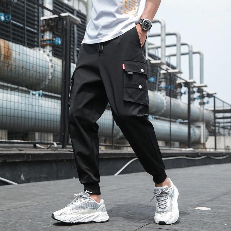 Japanese Streetwear Solid Loose Tooling Tactical Safari Harem Pants Sweatpants Men Wide Leg Cargo Pants Autumn Winter Overalls