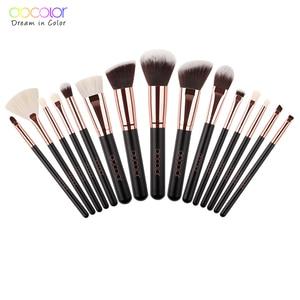 Image 2 - Docolor 15PCS Makeup Brushes Set Foundation Powder Eyeshadow Make up Brush Synthetic Hair Goat Hair Brush Set Make up Tools