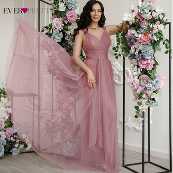 Prom Long Elegant Dresses Ever Pretty EP07303 V-neck Sleeveless A-line Tulle Teal 2020 Pink Sexy Vestido Formatura