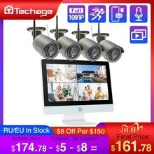 "Techage 8CH 1080P 무선 보안 카메라 시스템 12 ""LCD NVR 2MP IR 야외 방수 CCTV 와이파이 카메라 비디오 감시 세트"