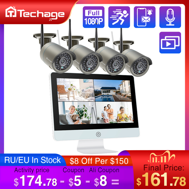 "Techage 8CH 1080P Wireless Security Camera System 12"" LCD NVR 2MP IR Outdoor Waterproof CCTV Wifi Camera Video Surveillance Set"