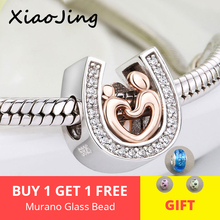 Silver 925 horseshoe CZ Charms diy Mom and son hand in hand Beads Fit Original pandora Bracelet pendant Jewelry making gifts цена