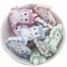 Chenkai 10PCS BPA Free Unicorn Baby Teething Beads Cute Silicone  Beads For Food Grade Infant Nursing Teether Toy Accessories