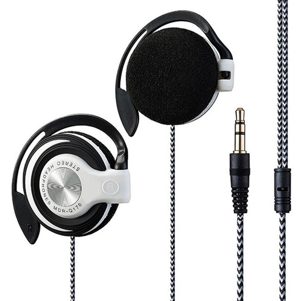 Universal 3.5mm Plug Wired HIFI Stereo Metal Wired Headphones Heavy Bass Headset Over-ear Adjustable Ear Hook Earphone For Phone