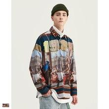 Cooo Coll Mannen vrouwen mode shirts kanye west hip hop herfst Retro portret volledige print streetwear tops losse lange mouw shirts