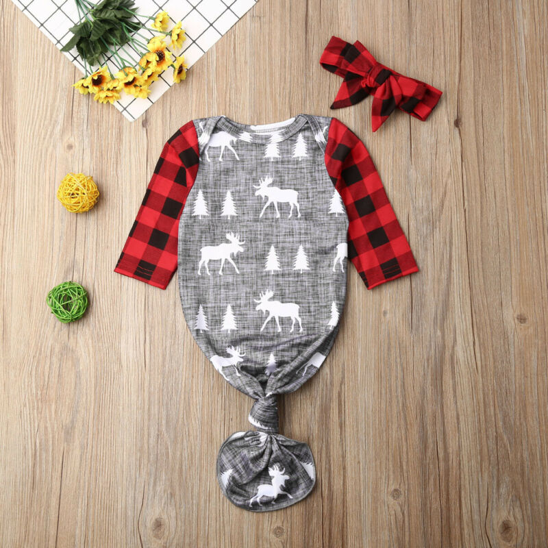 Cute Christmas Newborn Baby Girl Boy Sleeping Bag+Headband Set Patchwork Swaddle Wrap Blanket Infant Baby Clothes 0-6Months