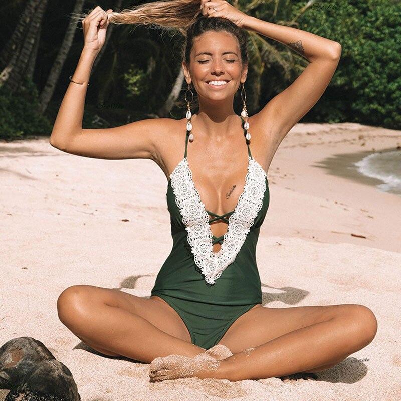 Maillot de bain une pièce 2018 Sexy maillot de bain femme nager Vintage été plage porter imprimer Bandage Monokini maillot de bain