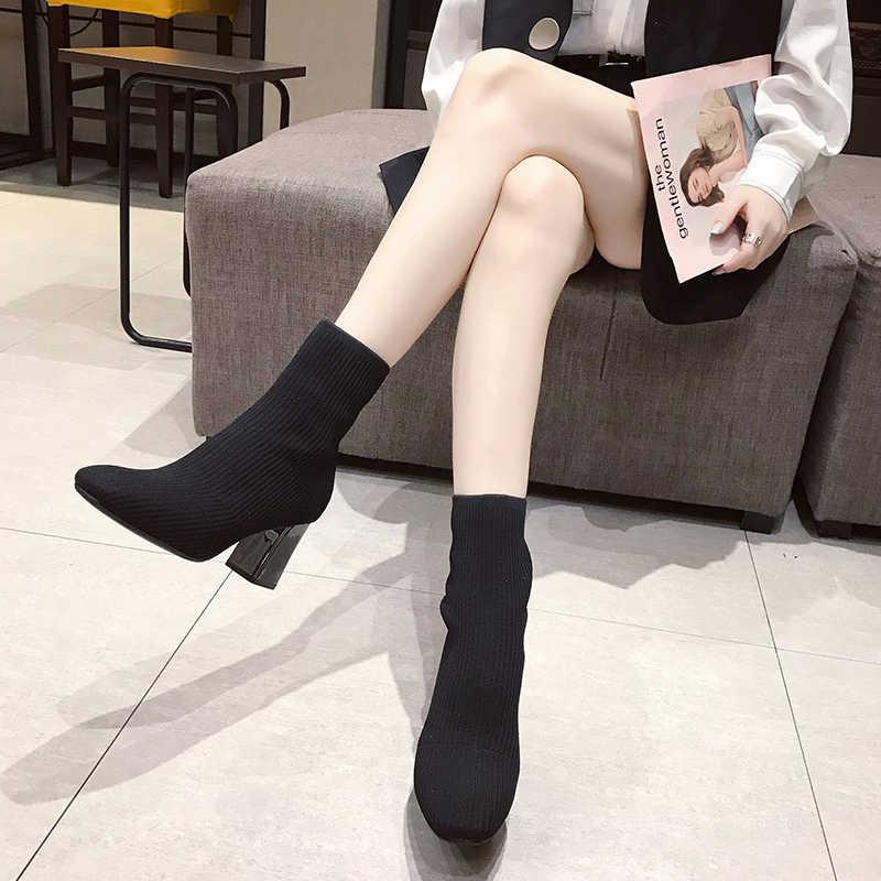 Bout carré rayé chaussettes tricotées chaussons chaud épais talons en métal mi-mollet chelsea botas slim stretch sans lacet équitation botines femme