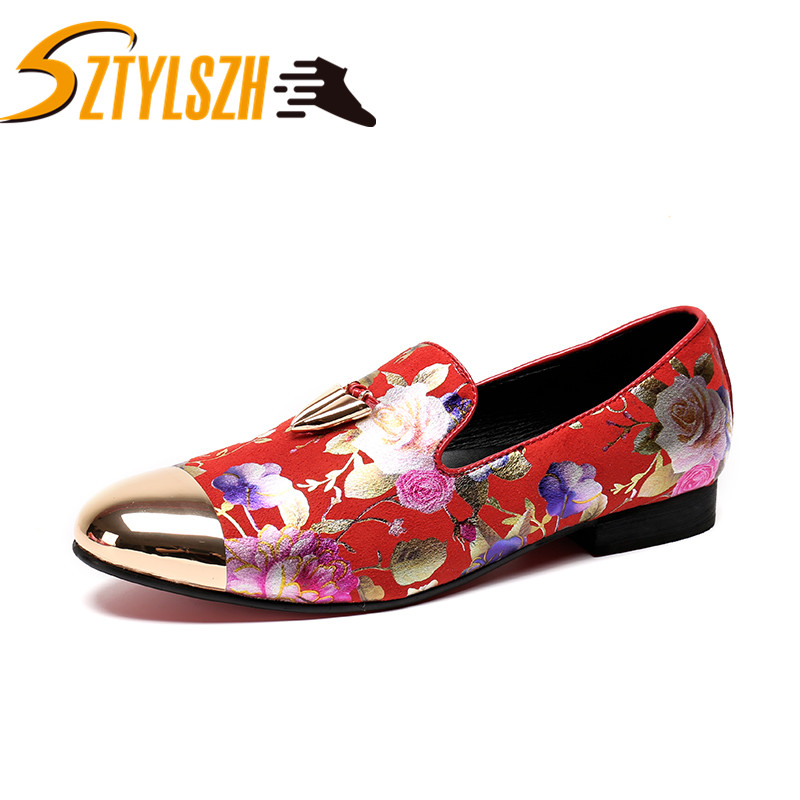 Moccasins White Loafers Flower-Pattern Fashion Dress-Shoes Flats Party Printing Men Men's