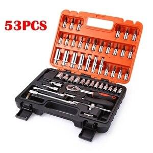 Kit de llaves de trinquete para caja de herramientas de reparación de motocicletas para coches 53 Uds