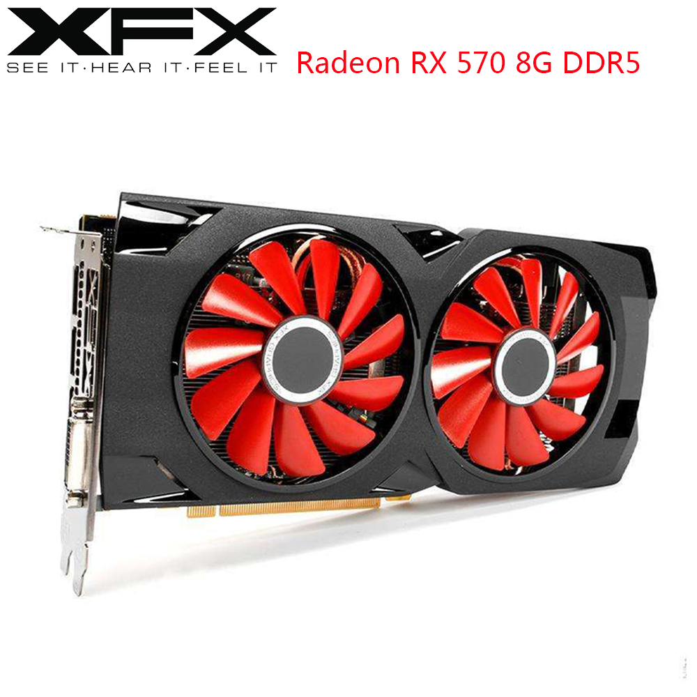XFX AMD Radeon RX 570 8GB Video Cards GPU RX570 8GB DDR5 256Bit PC Gaming Graphics Cards Desktop Computer Game Used Video Card image