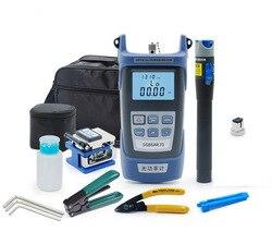 6 em 1 kit de ferramentas fibra óptica ftth fibra óptica cleaver FC-6S miller alicate stripper medidor de potência óptica 1 mw vfl 1 mw 5 km