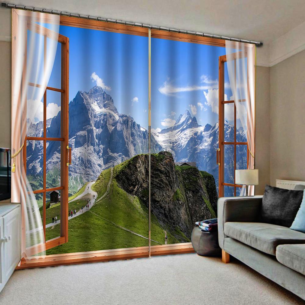 3D занавески на заказ 3D красивые снежные горы живописные волки занавески для гостиной 3D ванной занавески для душа - 2