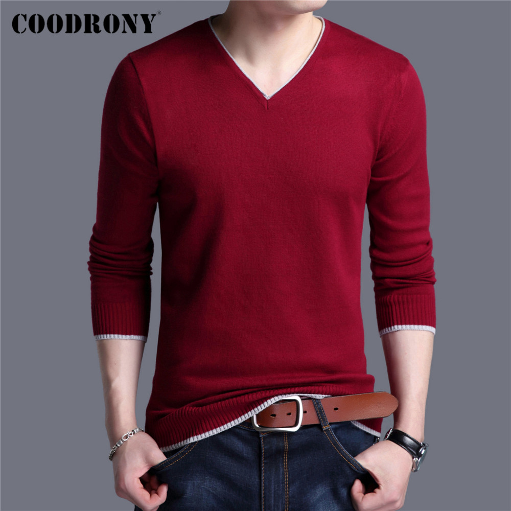 COODRONY Brand Spring Autumn New Arrival Soft Cotton Sweater Casual V-Neck Pull Homme Knitwear Pullover Men Clothes Jersey C1001 2