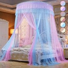 Cama dossel duplo cores pendurado mosquito net princesa cama tenda cortina dobrável dossel na cama elegante rendas fadas dossel d30