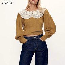 Женский трикотажный свитер цвета хаки элегантный винтажный пуловер