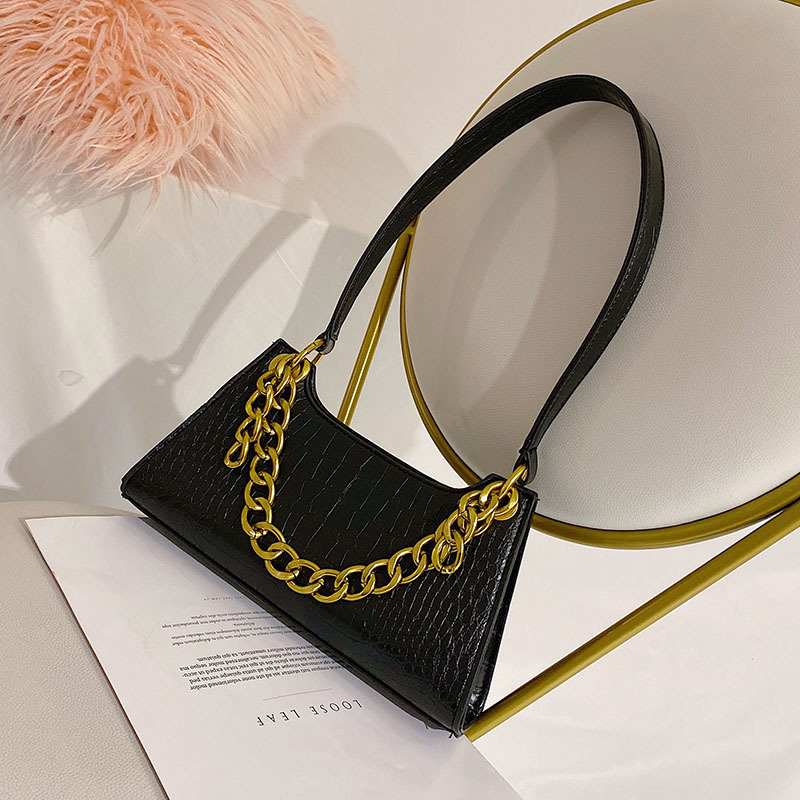 Fashion Bag Female 2019 Autumn And Winter New Retro Shoulder Bag Temperament Wild Crocodile Pattern Messenger Bag Chain