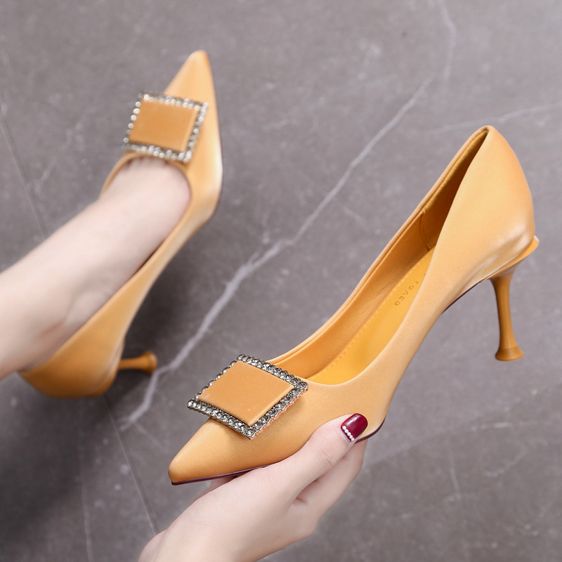 High-Heels Diamond-Buckle Red Shoes Pointed Female New-Fashion French Girl And Autumn