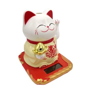 Solar Powered Fortune Cat Cute Welcoming Fortune Symbol Figurine Paw waving Fortune Cats Car Accessories
