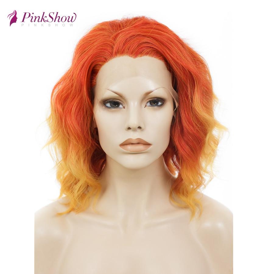 Pinkshow короткий парик оранжевый кружевной передний парик для женщин синтетический кружевной передний парик глубокая волна бесклеевой парик