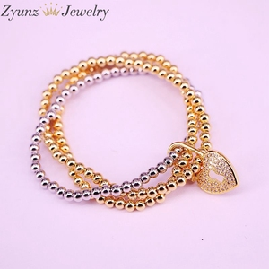 Image 5 - 5PCS, CZ micro pave connector clasp with round copper beads chain bracelets
