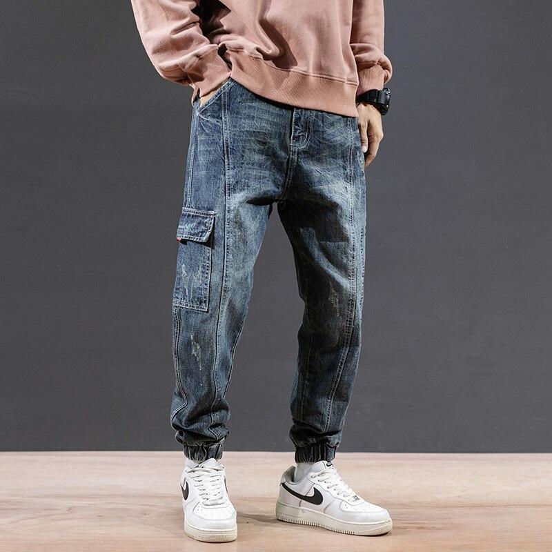 VODOF Men Casual Cotton Denim Trousers Multi Pocket Cargo Jeans Men New Fashion Denim Pants Big Size 38 40
