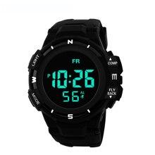 Męska czarna twarz czarny ekran wielofunkcyjny uczeń sportowy zegarek elektroniczny Led wodoodporny Luminous prosty modny zegarek