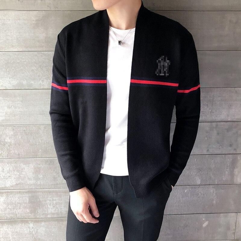 2019 Winter Men Sweater Fashion Cardigan Black Slim Sweater Business Social Cardigan For Male Autumn New Casual Sweater Cardigan