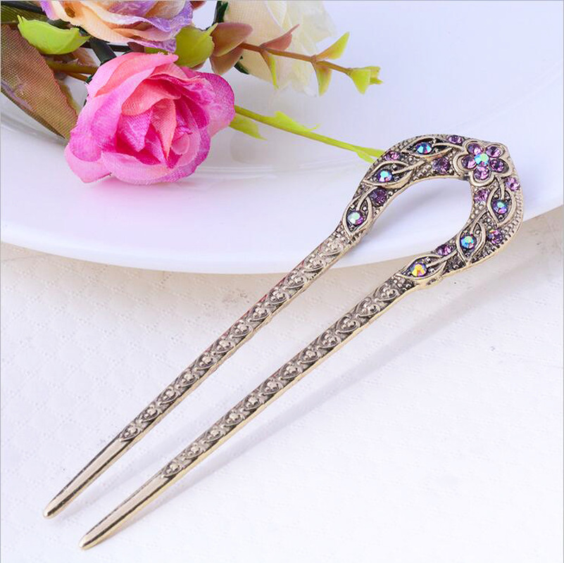 Vintage Hair Accessories Antique Bronze Plated Hairpins U Shape Hair Stick Pin Women Rhinestone Flower Hair Jewelry
