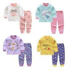 Осенне-От 6 месяцев до 4 лет комплекты одежды с длинными рукавами для девочек из 2 предметов хлопковый комплект нижнего белья с круглым вырезом зимняя одежда для маленьких девочек