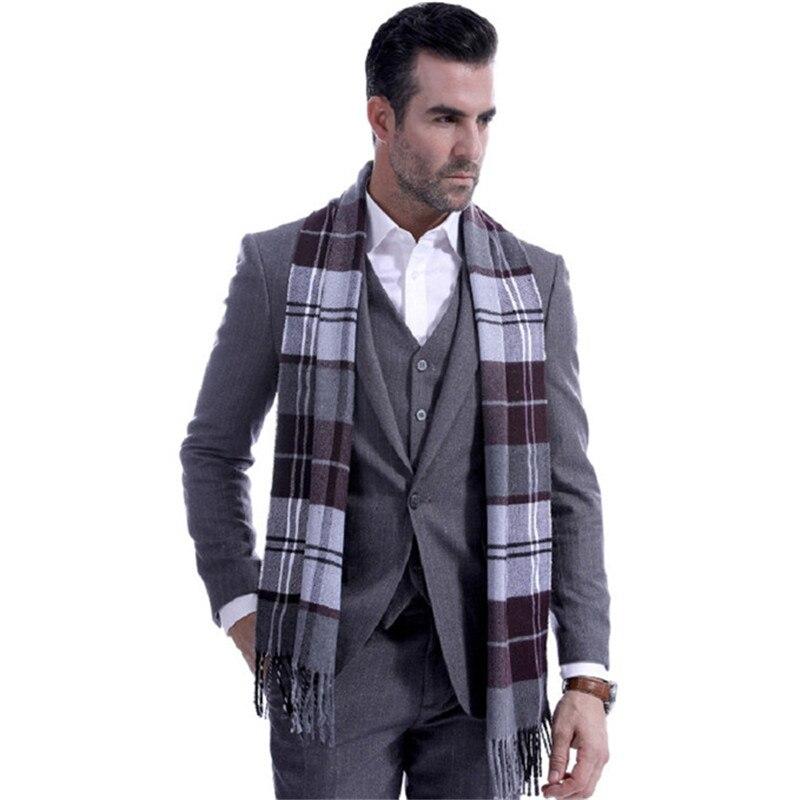 Newest Scarves Men Fashion Gray Plaid Autumn Winter Scarves Men Wool Spinning Classic Muffler Men Tassel Warm Muffle Neckerchief