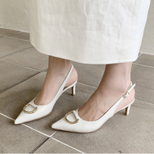 All-match 2020 new mid-heeled female summer Korean fashion nude nude high-heeled pointed leather hollow fine heel Baotou sandals female nude