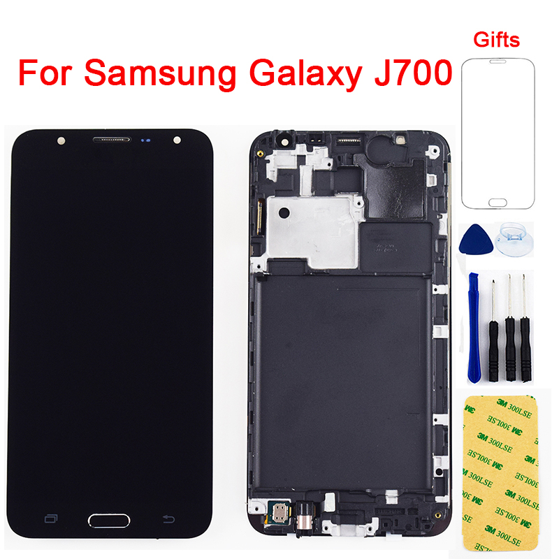 For <font><b>Samsung</b></font> <font><b>Galaxy</b></font> <font><b>J7</b></font> 2015 LCD Screen <font><b>j700</b></font> SM J700F J700M J700H J700FN DS LCD Display Touch Screen Digitizer Assembly Frame image