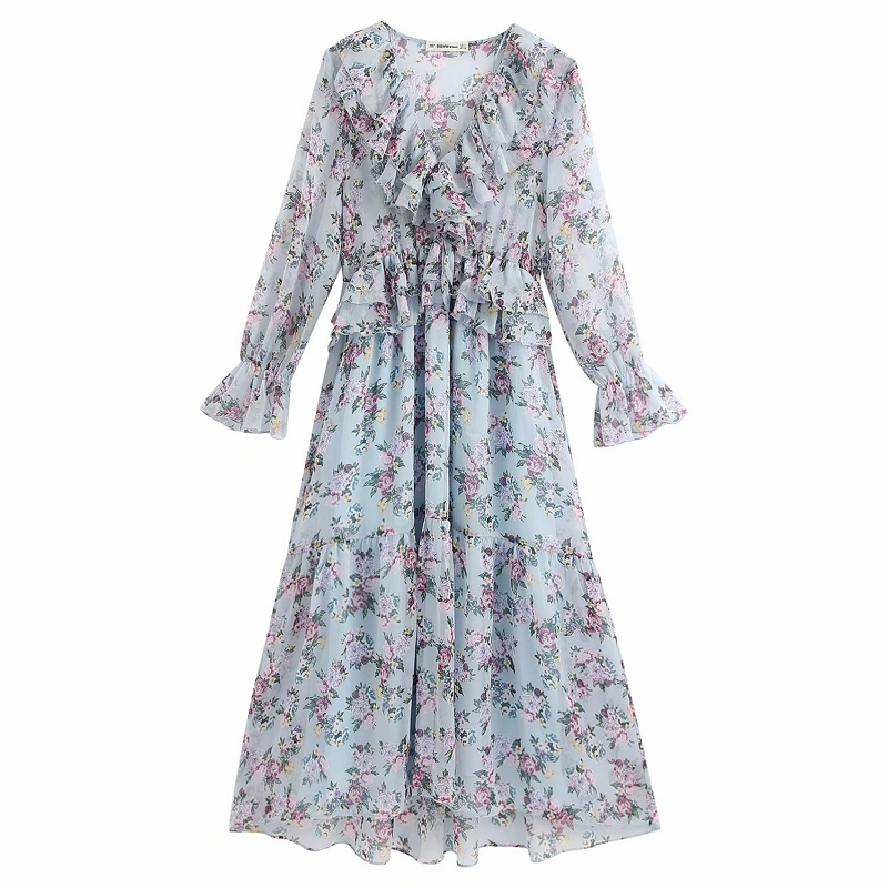 Vintage Floral Print Pleated Midi Dress Women V Neck See Through Ruffle Dresses