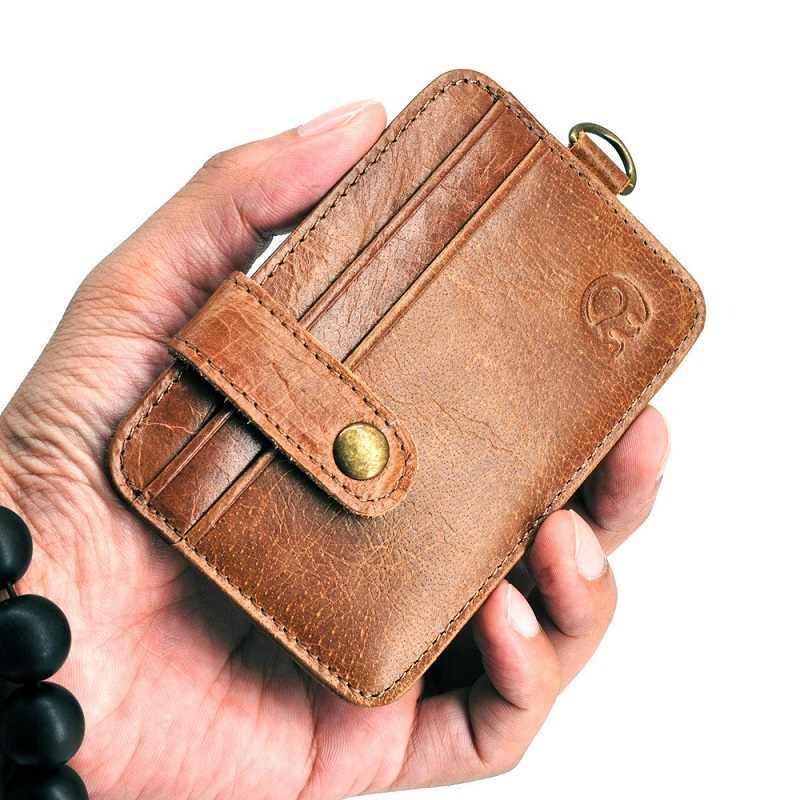ขายส่ง 100% หนังกระเป๋าสตางค์บาง ID บัตรเครดิตกระเป๋าเดินทางบัตรเงินสด Pack ราคาถูก KEY แหวน