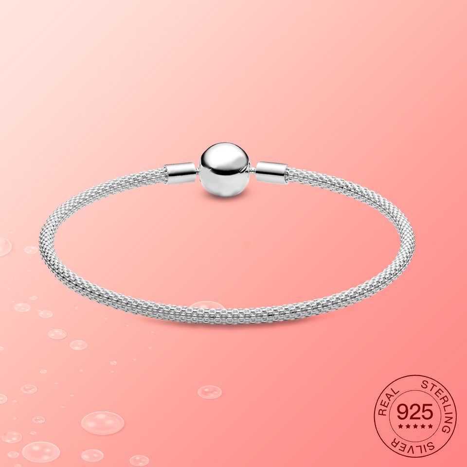100% 925 Sterling Silver Gelang Minimalis Cocok untuk Wanita untuk Memakai Fashion Perhiasan Hadiah DIY